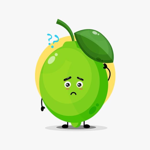 Personagem fofa de limão confusa