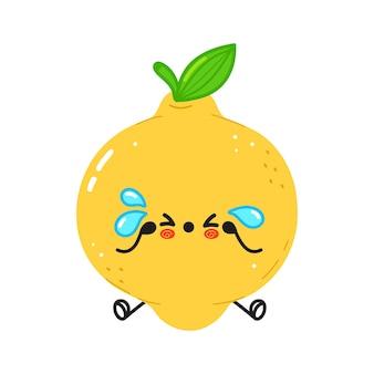 Personagem fofa de limão triste e chorando