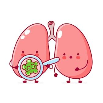 Personagem fofa de órgão de pulmão humano olha para bactérias em lupa