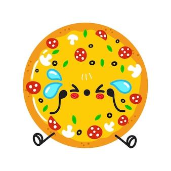 Personagem fofa de pizza triste e chorando