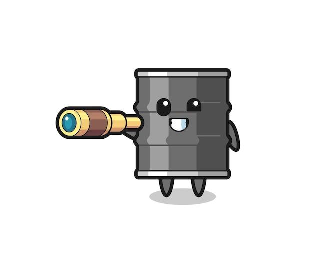 Personagem fofa de tambor de óleo segurando um telescópio antigo, design fofo