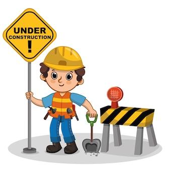 Personagem fofa de vetor segurando a placa em construção ilustração dos desenhos animados