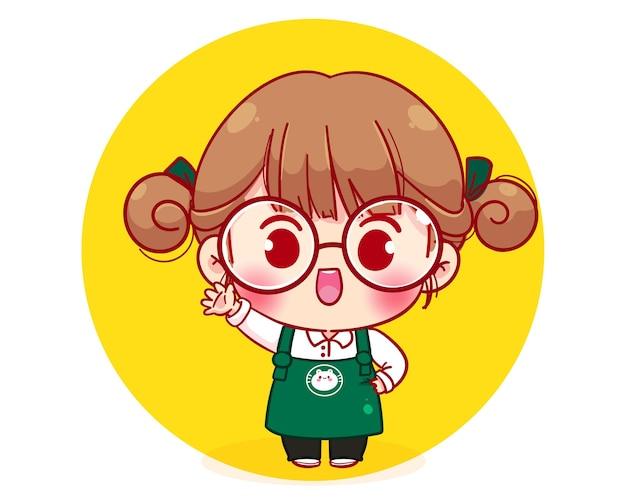Personagem fofa do barista em ilustração de personagem de desenho animado