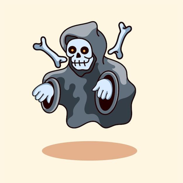 Personagem fofa do crânio com estilo moderno