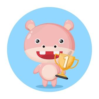 Personagem fofa do troféu de hipopótamo