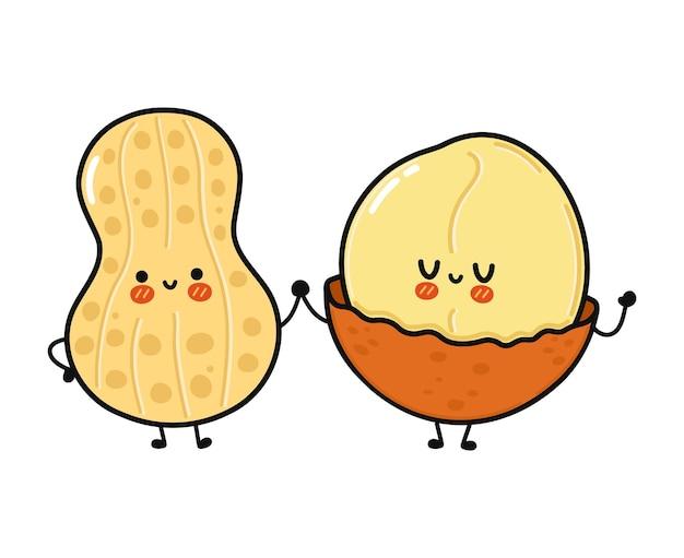 Personagem fofa e engraçada de amendoim e macadâmia feliz