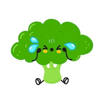 Personagem fofa e engraçada de brócolis chorando