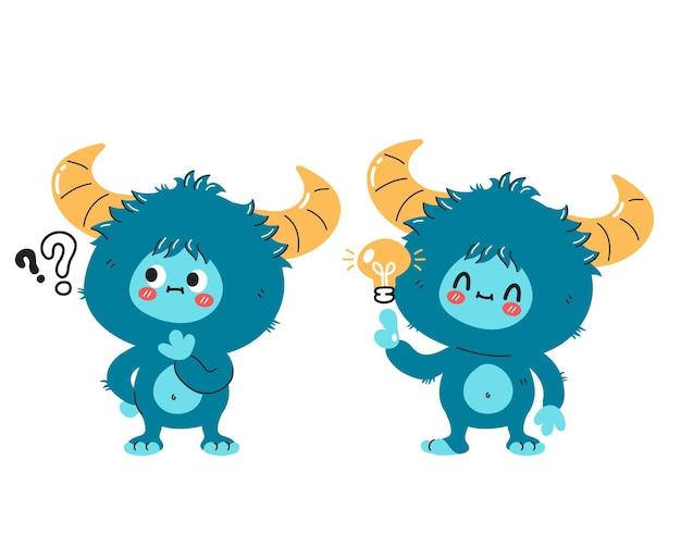 Personagem fofa e engraçada de monstro de yeti com ponto de interrogação e lâmpada de ideia