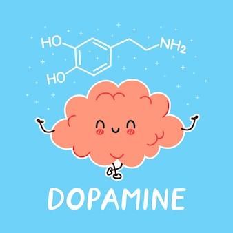 Personagem fofa e engraçada de órgão cerebral humano e fórmula de dopamina Vetor Premium