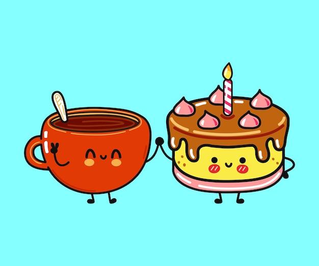 Personagem fofa engraçada feliz xícara de café e bolo Vetor Premium