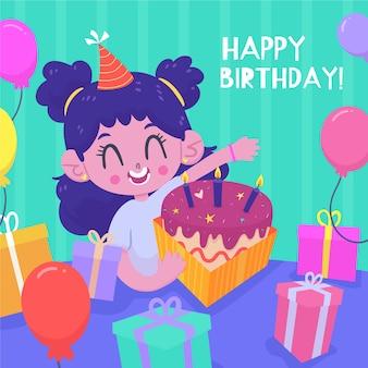 Personagem fofa feliz aniversário com bolo