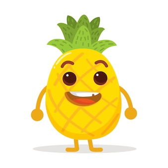 Personagem fofinho de abacaxi com cor muito brilhante