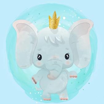 Personagem fofinho de bebê elefante pintado com aquarela