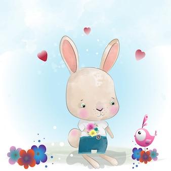 Personagem fofinho de coelho bebê pintado com aquarela