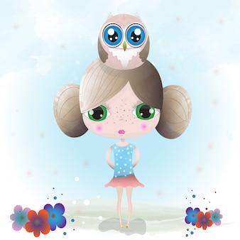 Personagem fofinho de menina pintada com aquarela