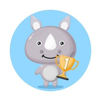Personagem fofinho do troféu de rinoceronte