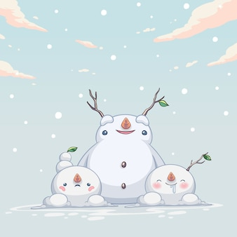 Personagem fofo de boneco de neve