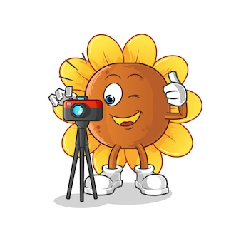 Personagem fotógrafo da flor do sol