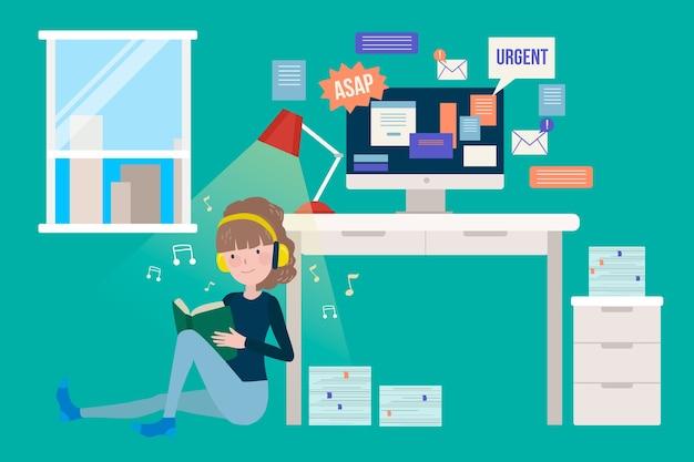 Personagem gastando tempo de qualidade em ambientes fechados, em vez de trabalhar