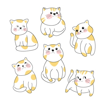 Personagem gato bonito doodle conjunto de vetores