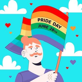 Personagem gay com dia do orgulho de bandeira