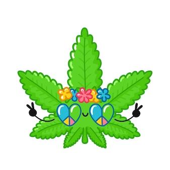 Personagem hippie de folha de maconha bonito engraçado feliz erva daninha.