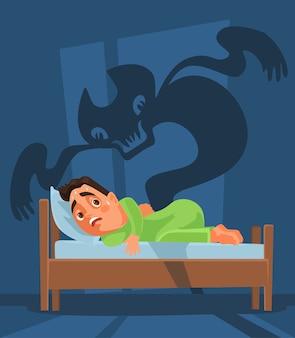 Personagem homem assustado acordou e um fantasma de pesadelo.