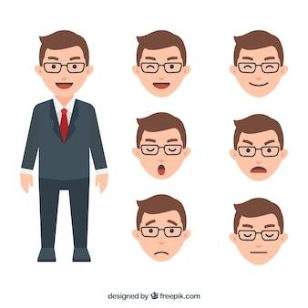 Personagem homem de negócios com expressões faciais