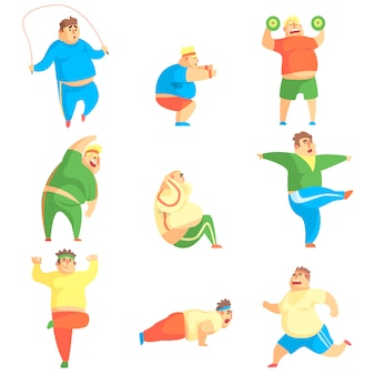 Personagem homem gordinho engraçado fazendo ginásio treino conjunto de ilustrações