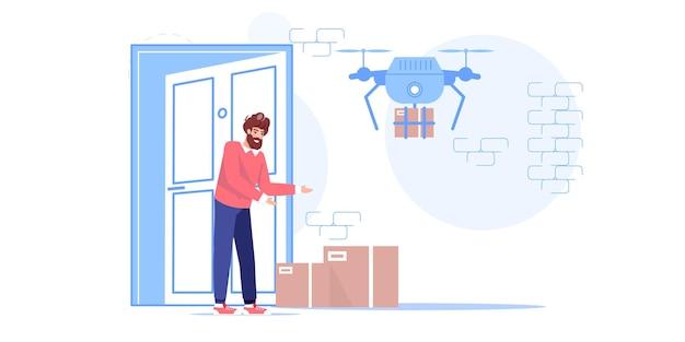 Personagem homem recebe compras online de drones de entrega