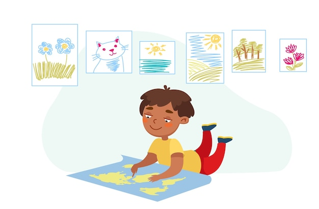 Personagem infantil deitada no chão com mapa-múndi