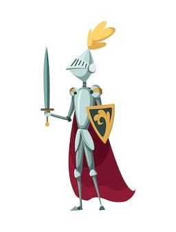 Personagem isolado cavaleiro medieval em pé com espada em um fundo branco. ilustração