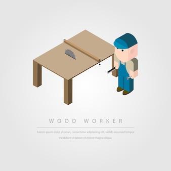 Personagem isométrica de madeira e mesa