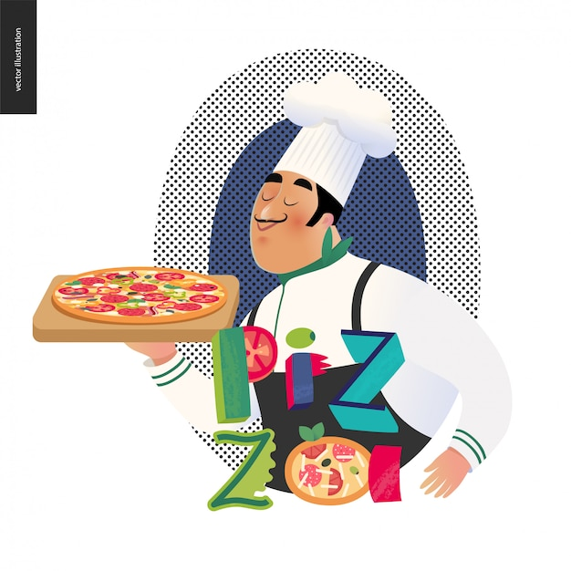 Personagem italiana com pizza