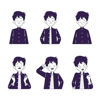 Personagem japonesa com emoções diferentes