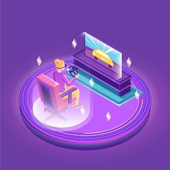 Personagem jogando enquanto usa fone de ouvido de realidade virtual