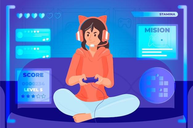 Personagem jogando videogame conceito