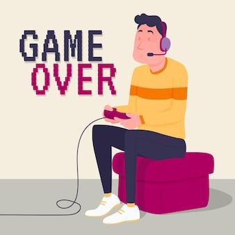 Personagem jogando videogame game over
