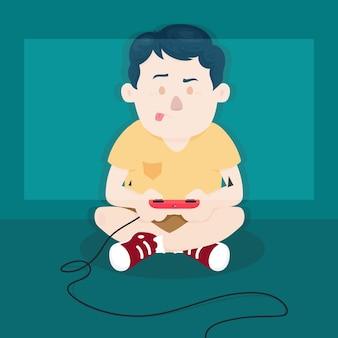 Personagem jogando videogame no chão