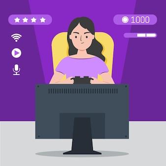 Personagem jogando videogame vista frontal