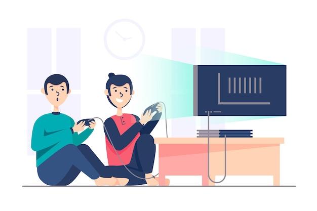 Personagem jogando videogame
