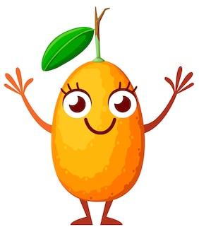 Personagem . kumquat oval com folha verde. fruta com olhos, mãos e pernas.