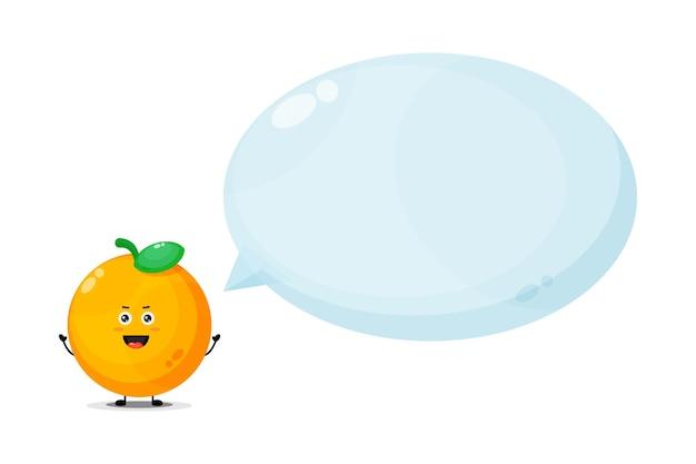 Personagem laranja fofa com discurso de bolha