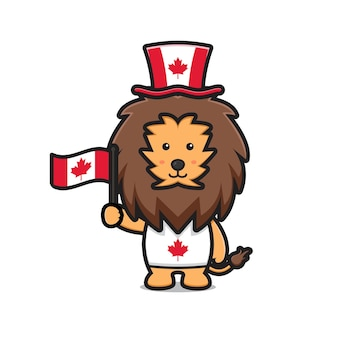 Personagem leão fofinho celebrando o dia do canadá