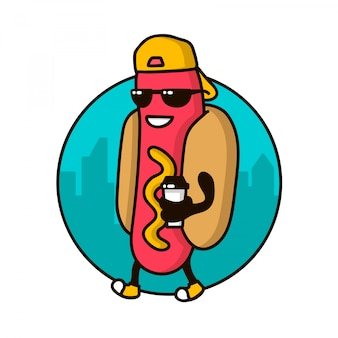 Personagem legal hotdog guy com tampa de café andando na rua. modelo de logotipo, crachá para restaurante de fast food