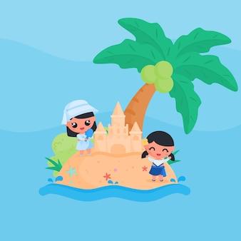 Personagem linda garota construindo castelo de areia na praia no verão design plano estilo cartoon vetor