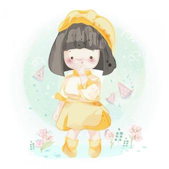 Personagem linda garota em estilo aquarela.