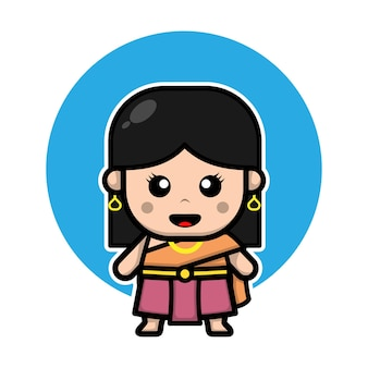 Personagem linda garota tailandesa