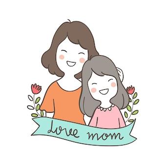 Personagem mãe e criança para o dia das mães