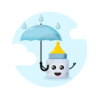 Personagem mascote chupeta bebê guarda-chuva